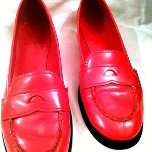 Tory Burch Red Leather Penny Loafer Shoe Size 8